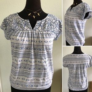Lucky Brand Blue and White Blouse